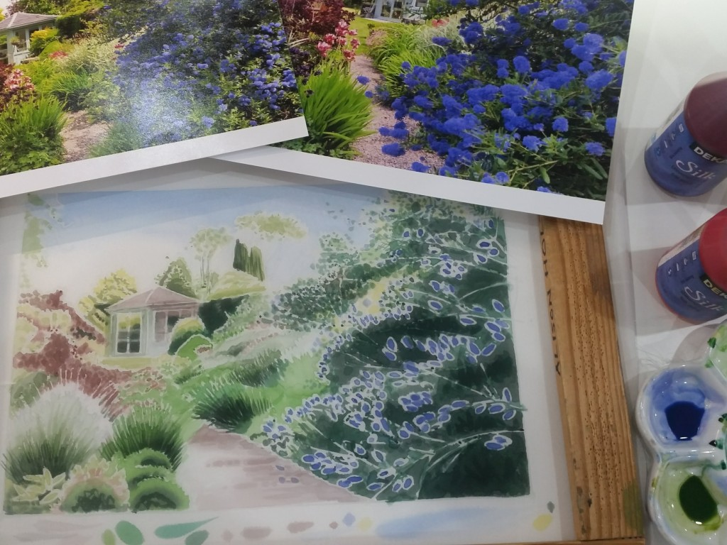 Photographs of my garden and silk painted background