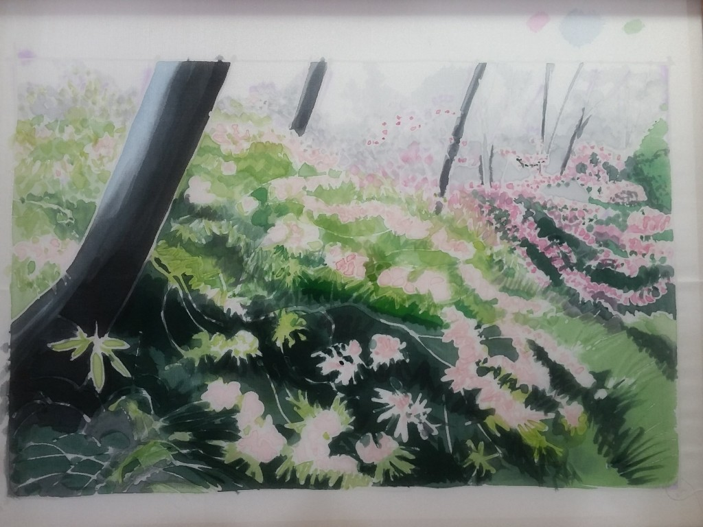 Painted background of the rhododendrons
